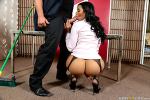 Mary Jean has to work late at the office and is about to leave for the day when the janitor has thrown out all of her hard work! Ms. Jean was looking forward to a hot date that night, suddenly finds herself horny as fuck and lets the janitor fuck her over
