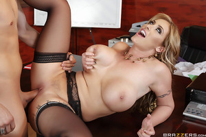 Big tit boss Eva Notty has had enough: one of her two employees is constantly late and can never get to work on time. When Xander Corvus misses yet another meeting, he pleads with Eva to let him keep his job. Eva believes her breast option is to give Xand