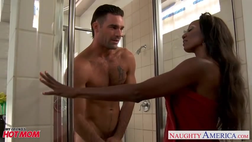 Hot ebony gives lusty pecker riding during wild shower sex ...